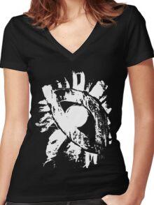 monochrome white eye on black background Women's Fitted V-Neck T-Shirt