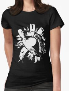 monochrome white eye on black background Womens Fitted T-Shirt