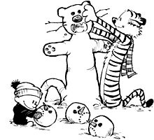 calvin and hobbes with snow by danielklowor