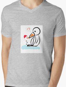 Penguin & snowman Mens V-Neck T-Shirt