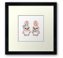 Cartoon rabbits / 5 / Boy and girl Framed Print