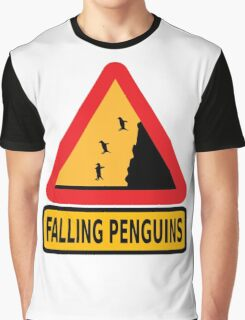 FALLING PENGUINS (Warning Sign) Graphic T-Shirt