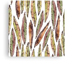 Watercolor Willow Leaves Pattern Canvas Print