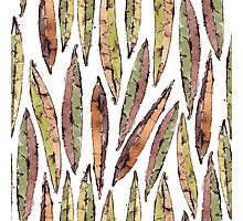 Watercolor Willow Leaves Pattern Photographic Print