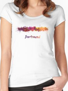 Dortmund skyline in watercolor Women's Fitted Scoop T-Shirt