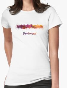 Dortmund skyline in watercolor Womens Fitted T-Shirt