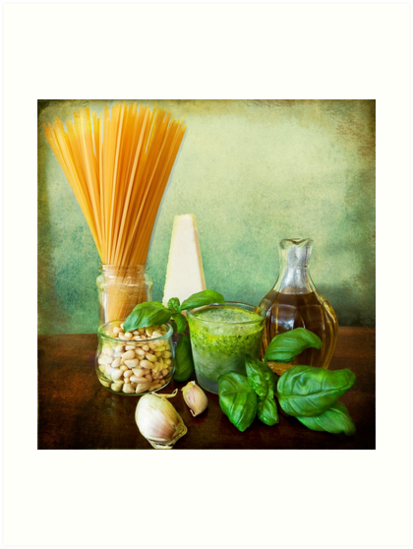 Italian recipe: noodles with pesto (basil,parmisan,garlic,olive oil,pine nuts) by Luisa Fumi