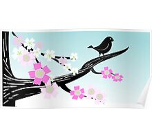 Spring Tree Bird Artwork Poster