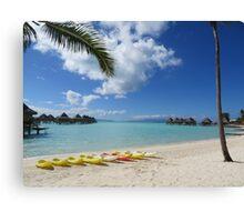 Bora Bora Beach with Kayaks Canvas Print