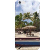 Boat on the beach in Bora Bora iPhone Case/Skin