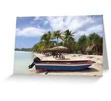 Boat on the beach in Bora Bora Greeting Card