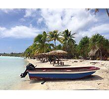 Boat on the beach in Bora Bora Photographic Print
