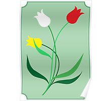Tulips in 3 colors Poster