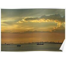 A view of the South China Sea and sunset in Manila, the Philippines Poster