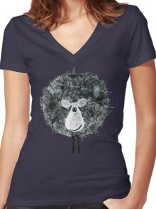 Sheepish Tee (large version) Women's Fitted V-Neck T-Shirt