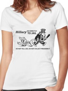 Hillary Clinton For Prison 2016  Women's Fitted V-Neck T-Shirt
