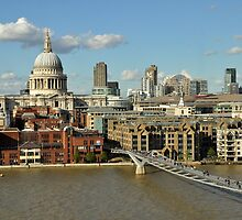 A view of St.Paul's Cathedral, the Millennium Bridge and the Thames in London, England by Yulia Bogomolova