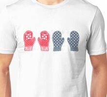 Red And Blue Nordic Designed Mittens Unisex T-Shirt