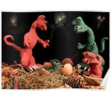 The dinosaurs celebrate a new arrival. Poster