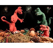 The dinosaurs celebrate a new arrival. Photographic Print