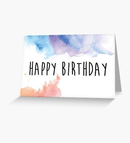 Watercolor Happy Birthday Greeting Card