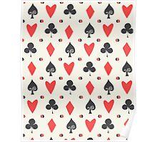 Hearts Clovers alice in wonderland fairy tale minimal kids nursery pattern pink and green Poster