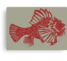 THE REDSCORPION FISH  (red on clear mud ) Canvas Print