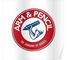 Arm & Pencil Badge Design Poster
