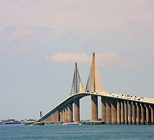 Sunshine Skyway Bridge over Tampa Bay FL by June Holbrook