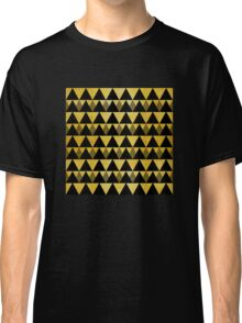 Gold glitter black triangles warm color Classic T-Shirt