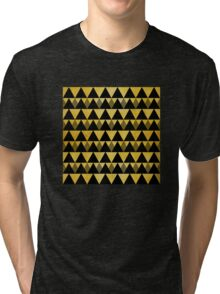 Gold glitter black triangles warm color Tri-blend T-Shirt