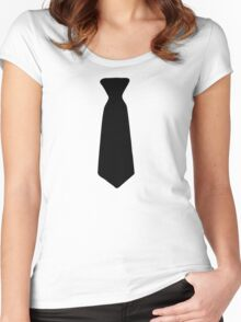 Neck Tie Black Women's Fitted Scoop T-Shirt