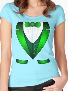 leprechaun suit st patricks day green Irish tuxedo Women's Fitted Scoop T-Shirt