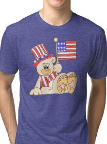 Patriotic Teddy Bear Tri-blend T-Shirt
