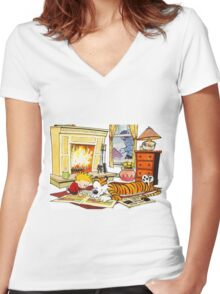 Calvin & Hobbes Women's Fitted V-Neck T-Shirt