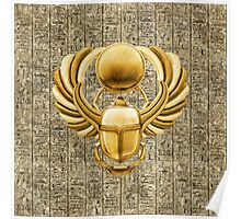 Gold Egyptian Scarab Poster