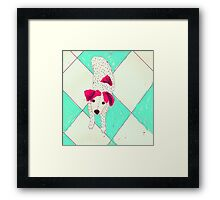 dog at the bus station Framed Print