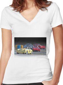 Vintage Racecars 'Lap Leader' Women's Fitted V-Neck T-Shirt