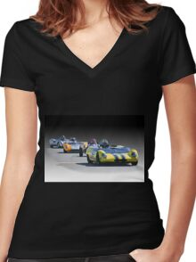 Vintage Racecars 'Home Stretch' Women's Fitted V-Neck T-Shirt