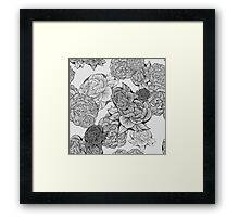 Peonies (Black and White) Framed Print