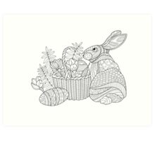 Easter Bunny Drawing Art Print