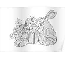 Easter Bunny Zentangle Poster