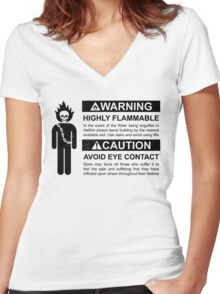 Warning: Highly Flammable - Variant Women's Fitted V-Neck T-Shirt