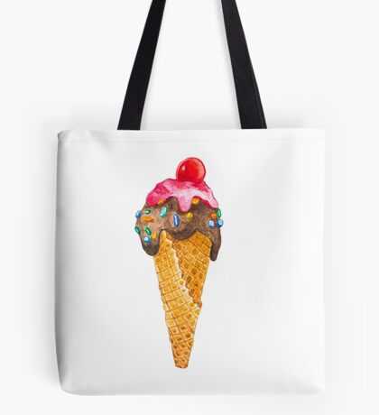 Watercolor Ice Cream Cone Tote Bag