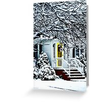 House With Yellow Door in Winter Greeting Card