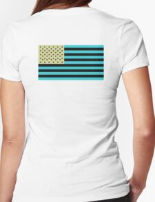 American Flag, Stars & Stripes, Negative, Inverted, America, USA Womens Fitted T-Shirt