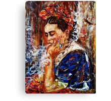 Frida and her thoughts Canvas Print