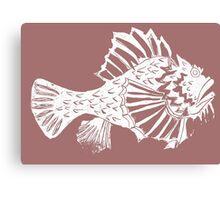 THE REDSCORPION FISH  (white on rose on powder pink) Canvas Print