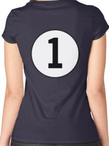 1, First, ONE, Number One, Number 1, Racing, Numero Uno, on Navy Blue Women's Fitted Scoop T-Shirt