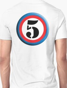 FIFTH, FIVE, 5, Roundel, TEAM SPORTS, NUMBER 5, Competition, White on Black T-Shirt
